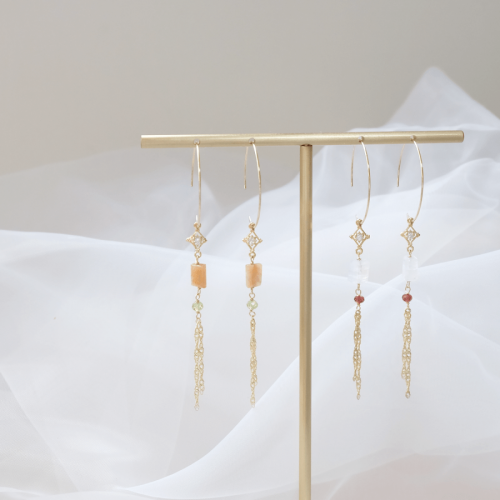 大圈古典耳環 – 月光石