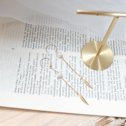 珍珠羽毛耳環