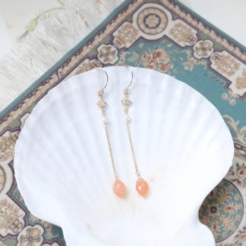 雙尖寶石搖曳耳環 – 太陽石