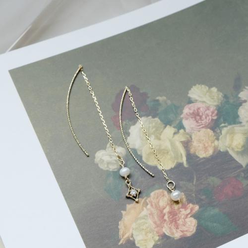 菱形鋯石小珍珠耳線