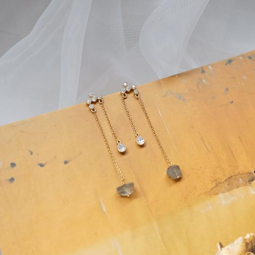 黃銅雨滴拉長石耳環