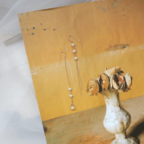 水滴寶石珍珠不對稱耳環 – 粉晶