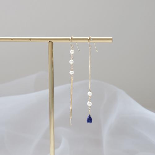 水滴寶石珍珠不對稱耳環 – 青金石