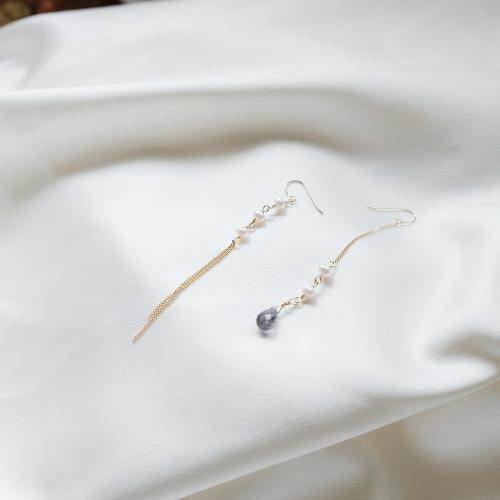 水滴寶石珍珠不對稱耳環 – 堇青石