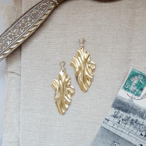 黃銅水波耳環