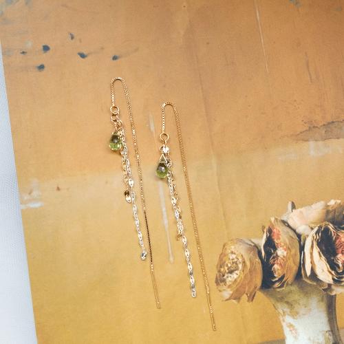 流蘇優雅耳線 – 橄欖石