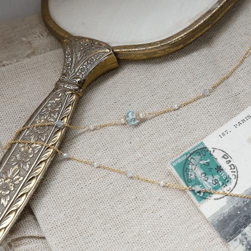 經典寶石手鍊 – 藍托帕石