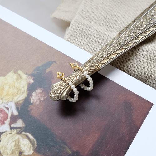 菱形鋯石珍珠耳圈