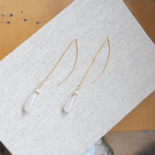長水滴寶石耳線 – 粉晶