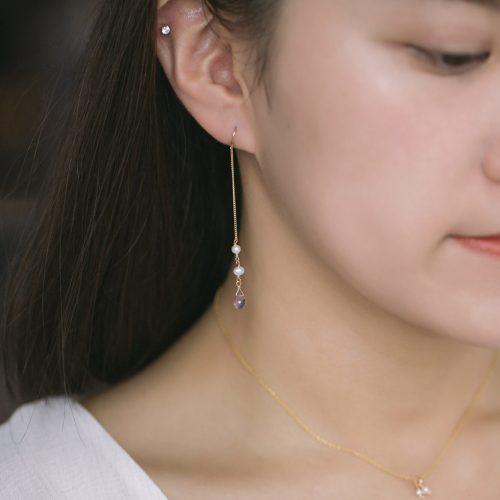 水滴寶石珍珠不對稱耳環 – 紫水晶(淺)