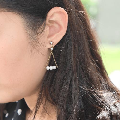 黃銅珍珠天秤耳環