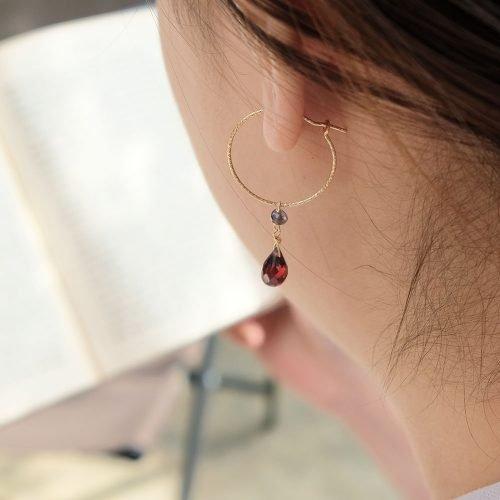 紅石榴14K包金圓圈耳環