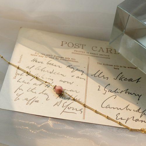 簡約寶石手鍊 – 玫瑰石