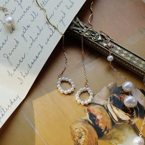 克卜勒的日記 – 圓圈珍珠波浪耳線