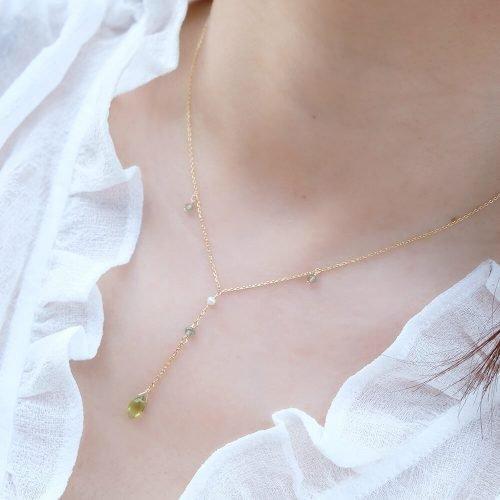 晨露花瓣 – 橄欖石項鍊