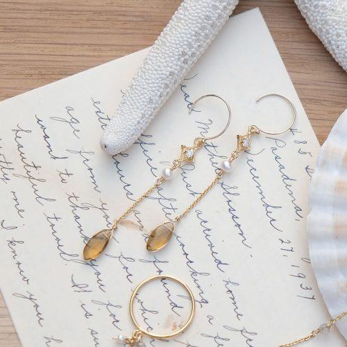 晨露花瓣 – 黃水晶耳環