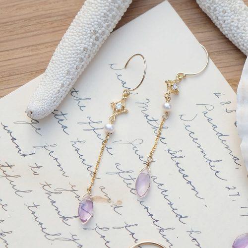 晨露花瓣 – 紫水晶耳環