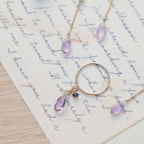 晨露花瓣 – 紫水晶寶石戒