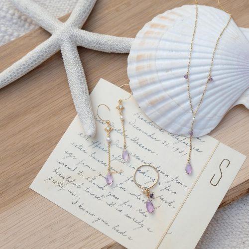 晨露花瓣 – 紫水晶項鍊