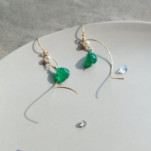 星塵 – 綠玉髓耳環