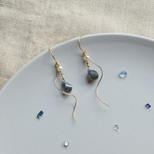 星塵 – 拉長石耳環