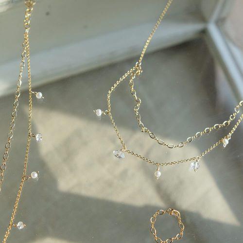 星塵 – 雙鍊白水晶項鍊