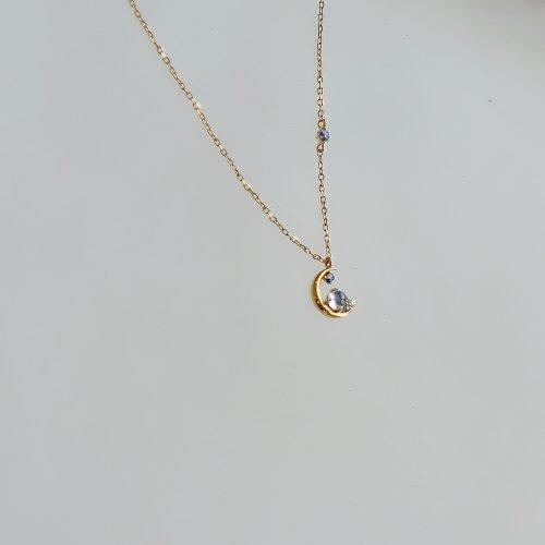 藍色的月 -10K純金 月光石 真鑽1分 藍寶石項鍊
