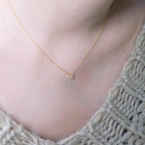 經典六角 -10 K純金 月光石項鍊