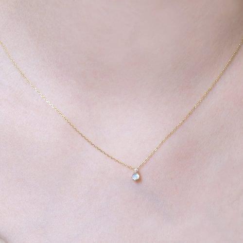 溫柔月光 -10 K純金 月光石 真鑽1分 項鍊