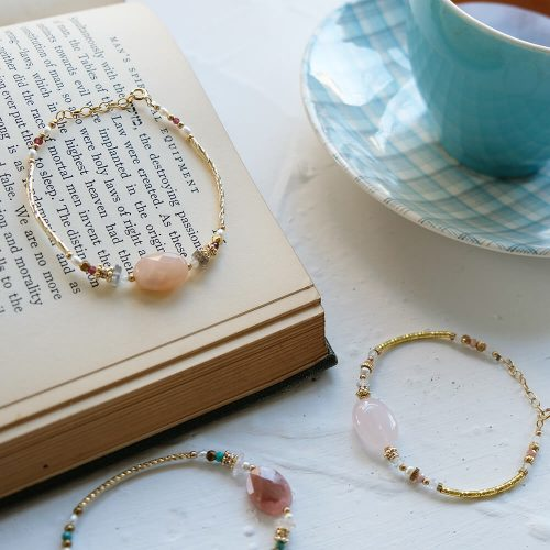 經典大寶石  – 黃銅粉晶手鍊