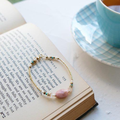 經典大寶石  – 黃銅玫瑰石手鍊
