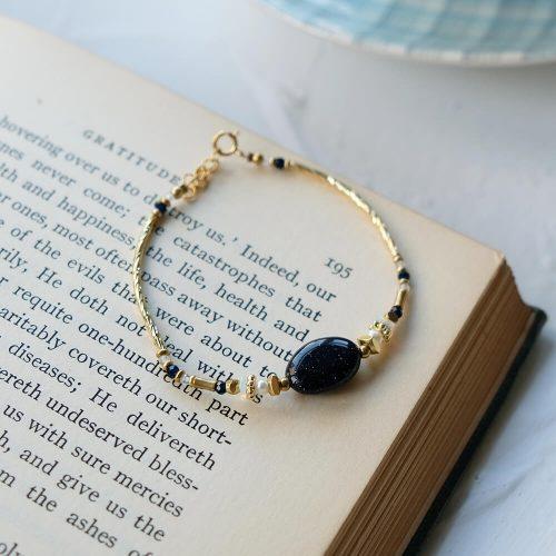 經典大寶石  – 黃銅藍晶砂手鍊