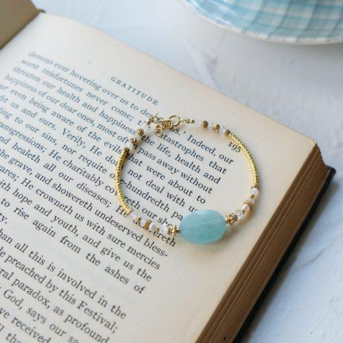 經典大寶石  – 黃銅海藍寶手鍊