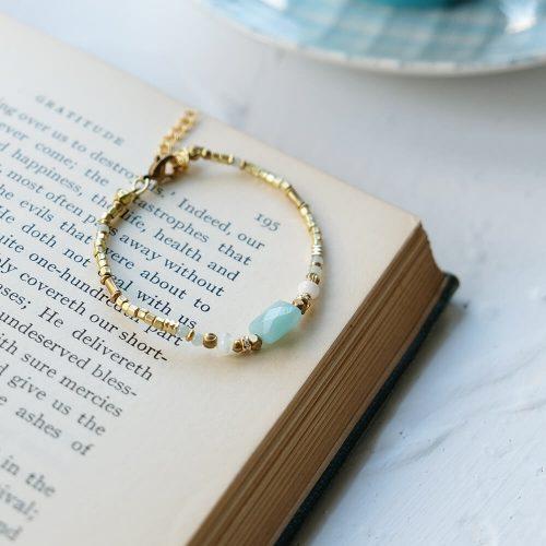 小方塊  – 黃銅天河石手鍊