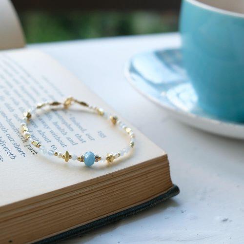 花園尋寶家  – 黃銅海藍寶手鍊