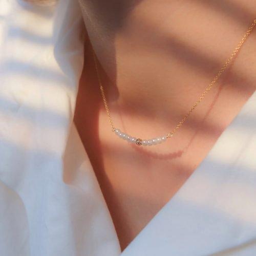 小珍珠微笑鑽項鍊