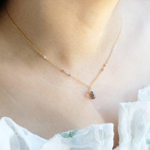 華麗小水滴 – 茶晶項鍊