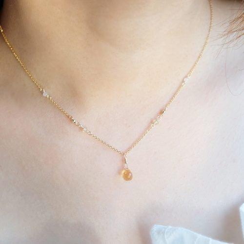 華麗小水滴 – 黃水晶項鍊