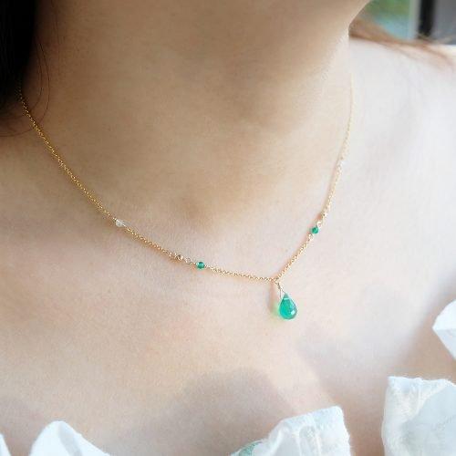 華麗小水滴 – 綠玉髓項鍊