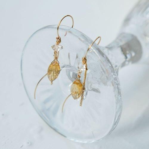 黃水晶流線耳環