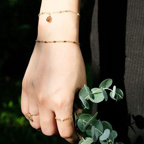 雙層交織 珍珠鍊戒